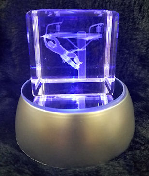 Lineman Laser Etched Crystal -  Mixed Colors LED Light Stand