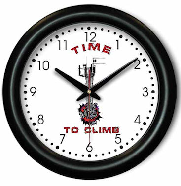 Cell Tower Wall Clock - Time to Climb Telecom Gift