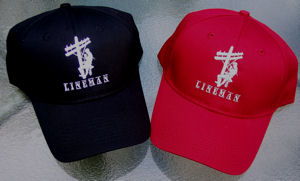 EMBROIDERED Lineman Climbing  Ball Cap - RED