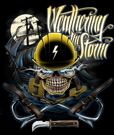 Lineman T-Shirt ARGGG!!! Weathering the Storm LINEMAN CLOTHING...NICE GIFT FOR A POWER LINEMAN! ORDER YOUR ELECTRICAL LINEMAN THIS COOL SHIRT TODAY!