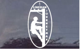 Journeyman Lineman White Window Decal DCD100-11