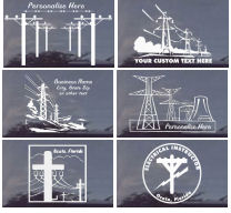CUSTOM Window Decals - Transmission Tower Lines and Electric Poles
