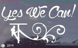 Yes We Can! White vinyl window decal or sticker for female lineworkers