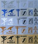 Hard Hat Electrician Wireman Decals - Chrome/Reflective SET of 6