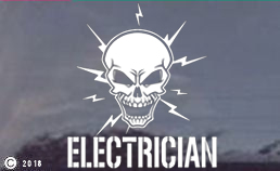 Electrician Skull Window Sticker - Decal Two Sizes