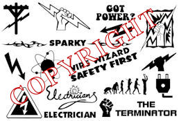 Electrician Hardhat Stickers Decals - A sheet of 20 pcs! 