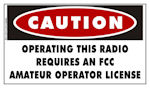 FCC License Required Sticker for ARO Hams Radio Equipment