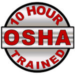 10 Hour OSHA Trained Hard Hat Decal - Weatherproof