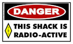 Ham Radio Sticker: THIS SHACK IS RADIO-ACTIVE
