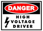 DANGER High Voltage Driver Decal LARGE