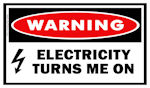 Warning Electricity Turns Me On Sticker!