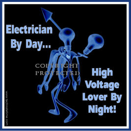 Funny Decal:  Electrician By Day...High Voltage Lover By Night