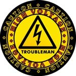 CAUTION! High Voltage Troubleman Hard Hat Decal Two Sizes