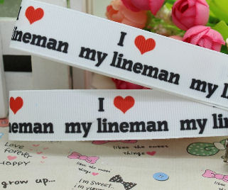 "I Love My Lineman Grosgrain Ribbon 2"" Wide"