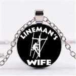 Linemans Wife Pendant with Necklace Cabochon Glass