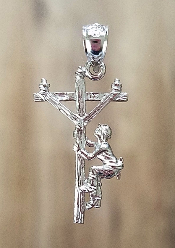 Sterling Silver Lineman Charm Pendant Jewelry Gift