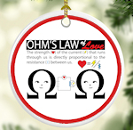 Ohms Law of Love Electrical Occupations Porcelain Ornament