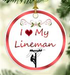 I Love My Lineman Christmas Tree Ornament
