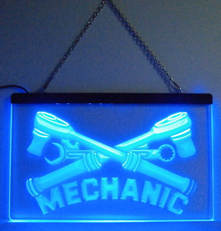 Service MECHANIC Neon Blue Light Sign - Gift