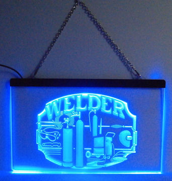 WELDER Neon Blue Light Sign - Gift