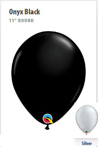 "Black or Silver 11"" Balloons...Made in the USA"