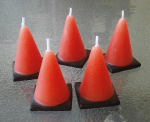 Caution Construction Cone Candles - Order just 1 or more!