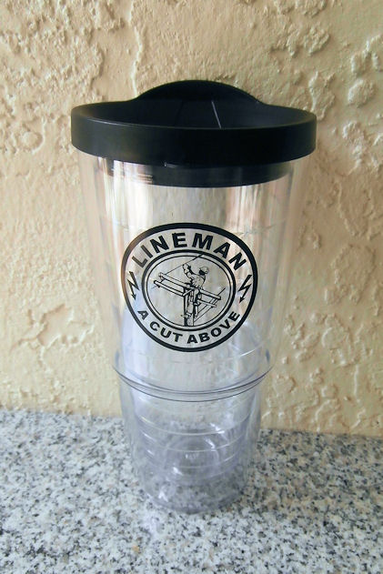 Lineman A Cut Above 24 Oz Double Wall Acrylic Tumbler Cup