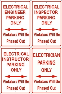 Electrical Trades Parking Sign - PHASED OUT - Your choice!