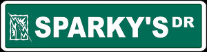 SPARKEY'S Dr Metal Street Sign