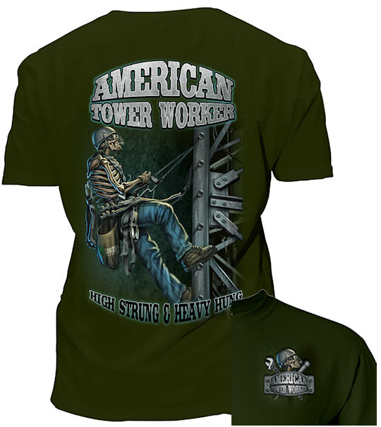 This Tower Climber - American Tower Worker tshirt has a great graphic!