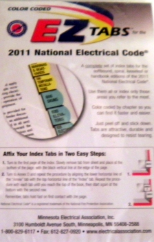 2011 color coded ez tabs for nec code books 2011 national electrical code books