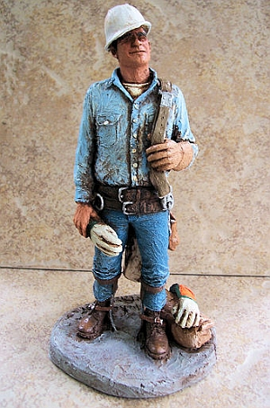 Michael Garman Sculpture TO THE TOP statue. Gift for Lineman