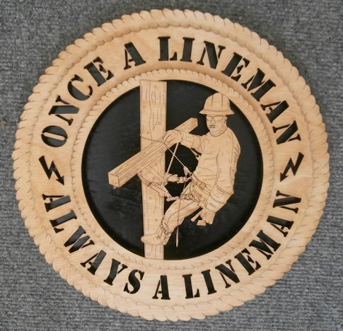 Lineman Wood Wall Art Plaque Hanging Woodcraft 12 inches in diameter...beautifully detailed!