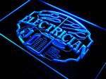 Neon blue fluorescent wall sign for electrician's....wonderful piece of wall art!