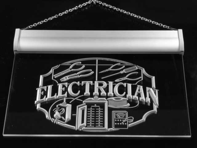 This electrician sign lights up with a fluorescent blue glow which shines downard from it's casing. It really is beautiful to look at in the evening!