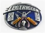 Electrician Belt Buckle W Blue Enamel Occupational Gift