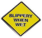 SLIPPERY WHEN WET Belt Buckle - Fun GAG Gift