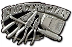 Electrician Belt Buckle Carved with Tools of the Trade