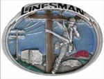 LINESMAN Blue Enameled Belt Buckle - Nicely detailed!
