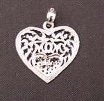 Mom Heart Charm 14K White Gold Charm
