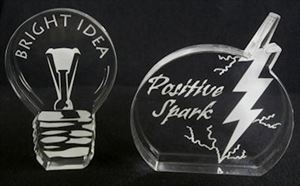 Bright Idea or Positive Spark Acrylic Awards - Your Choice