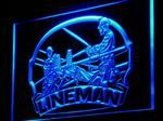 Linemans Neon Blue LED Carved Acrylic Light Sign - Plug In