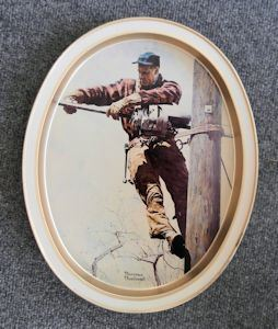 The Lineman Collector's Tray - Norman Rockwell 1959 Vintage