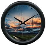 Sunset Towers Wall Clock - Transmission Power Lineman
