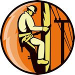 "Lineman Climbing Hardhat Hard Hat Decal 1.5"" Full Color"