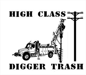 """10.5"""" Digger Operator Window Decal CUSTOM TEXT NO CHARGE"""