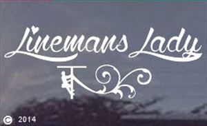 Linemans Lady White Window Decal - Die Cut