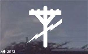 Electric Utility Pole Die-Cut Window Decal - Various Sizes