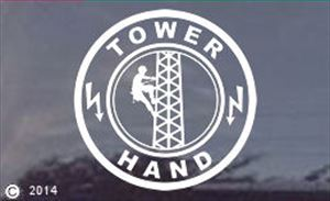 Cell Cellular Tower Hand Climber Window Decal