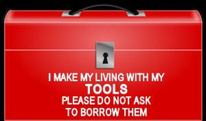 I Make My Living With My Tools Diecut Toolbox Decal